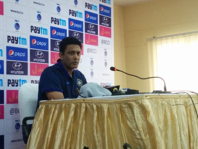 India's head coach Anil Kumble at a press conference
