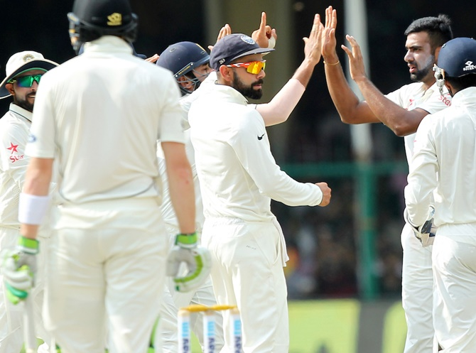 Rediff Cricket - Indian cricket - Stats: Records galore for India in first Test vs New Zealand