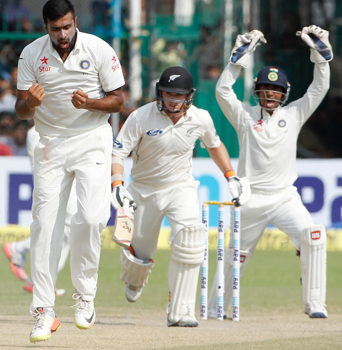 Ashwin celebrates Tom Latham's wicket in the first Test against New Zealand  in Kanpur. Photograph: BCCI