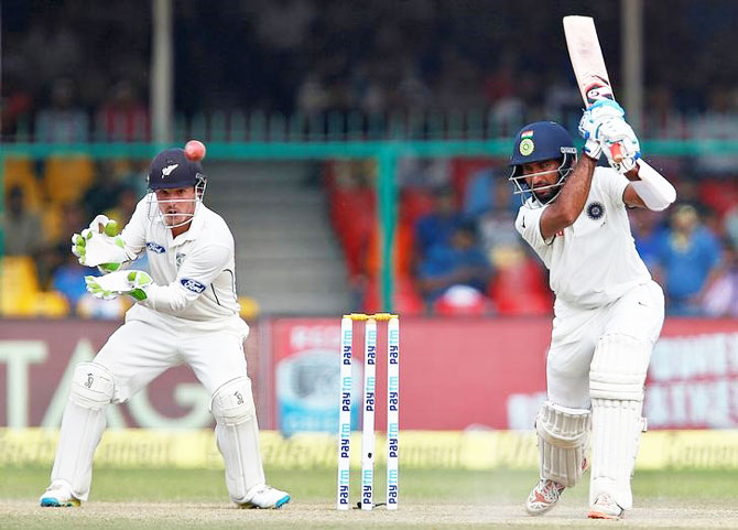 Cheteshwar Pujara in the First Test against New Zealand in Kanpur