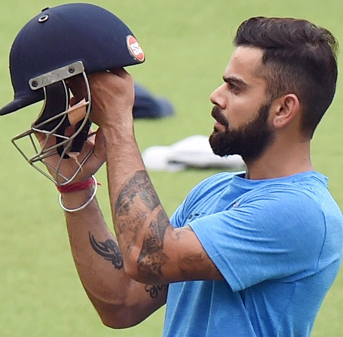 Virat Kohli at a training session