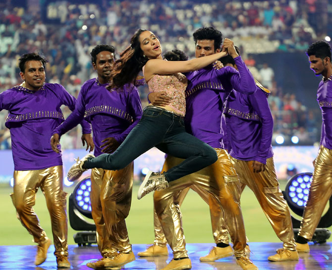 Bollywood actress Shraddha Kapoor danced to Bollywood numbers in a 19-minute opening ceremony to mark the start of the first Indian Premier League match of the season at Eden Gardens in Kolkata on Thursday, April 13