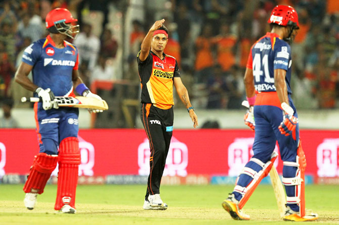 Sunrisers Hyderabad's Suiddharth Kaul celebrates on dismissing Delhi Daredevils' Angelo Mathews during the last over of their Indian Premier League match in Hyderabad on Wednesday