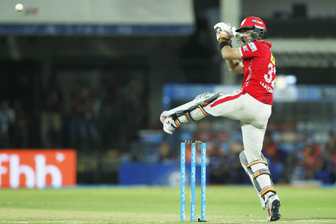 Kings XI Punjab captain Glenn Maxwell en route his fiery innings of 40 from just 18 deliveries