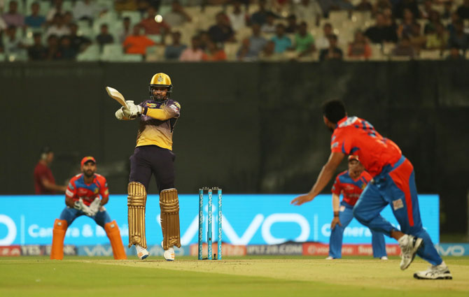 KKR's Sunil Narine goes for the big shot during his innings of 47