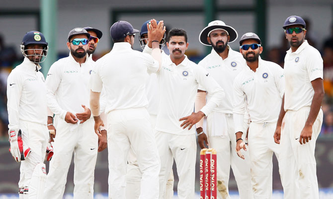Rediff Cricket - Indian cricket - PHOTOS: Jadeja takes five as India crush Lanka to win 2nd Test, series