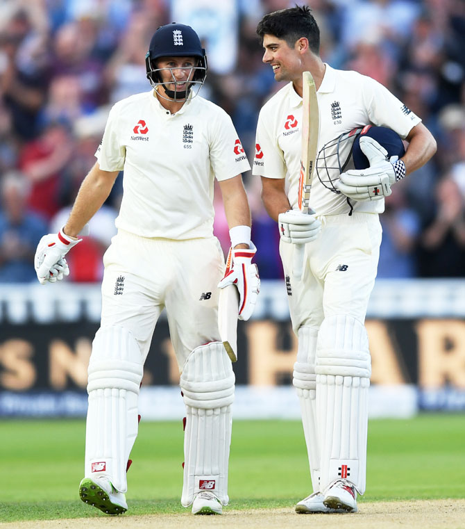 Rediff Cricket - Indian cricket - Day-night Test PIX: Centurions Root, Cook take centre stage on Day 1