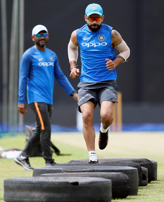India captain Virat Kohli performs fitness drills. Fitness is now a parameter for selection into the Indian team