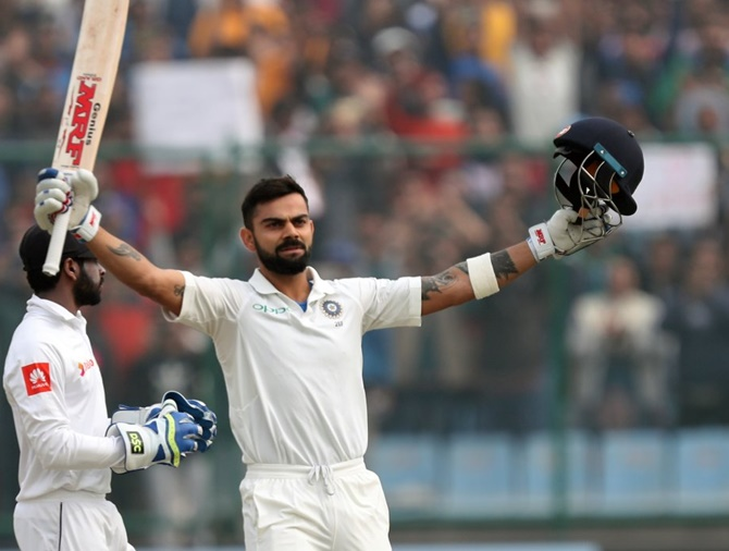 Virat Kohli celebrates his double century on Sunday