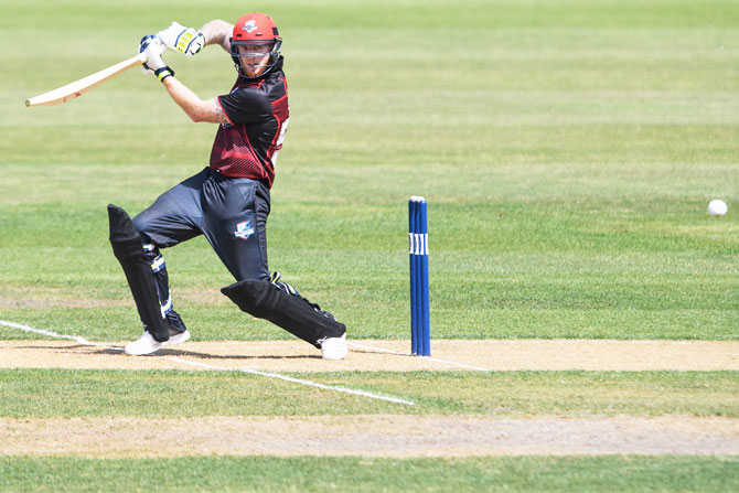 Canterbuy batsman Ben Stokes bats during his innings against Otago during their Ford Trophy One Day match in Rangiora, New Zealand, on Sunday
