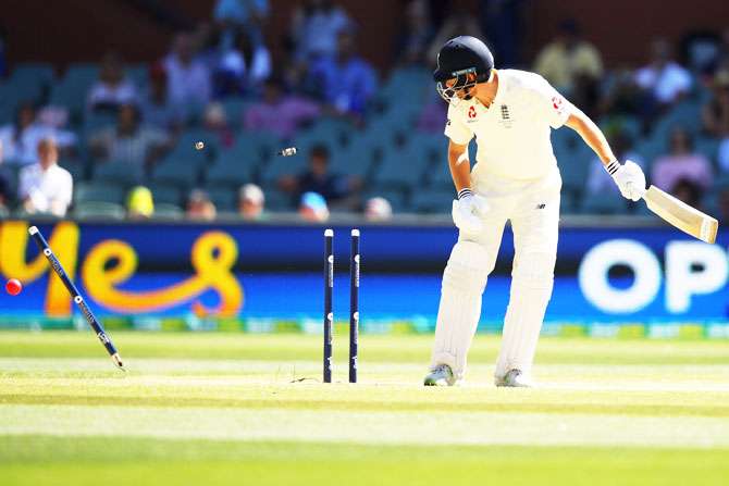 England's Jonny Bairstow is bowled by Australia's Mitchell Starc on Day 5 of the second Ashes Test at the Adelaide Oval in Adelaide on Wednesday