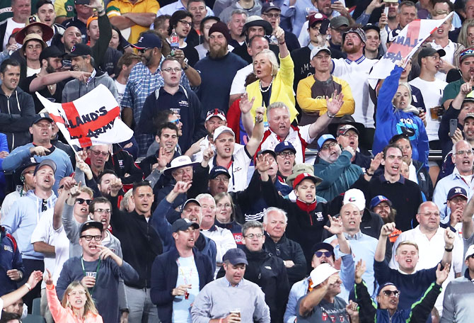 The Barmy Army in full force at the Adelaide Oval