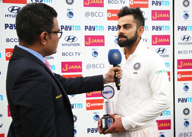 India captain Virat Kohli was named Man-of-the-match and Man of the series after hitting 610 runs with three hundreds, including two double tons