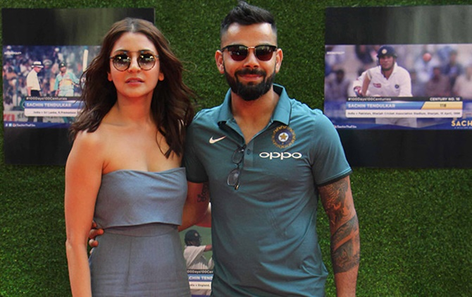 Rediff Sports - Cricket, Indian hockey, Tennis, Football, Chess, Golf - Sublime Kohli thanks wife Anushka for his rich form