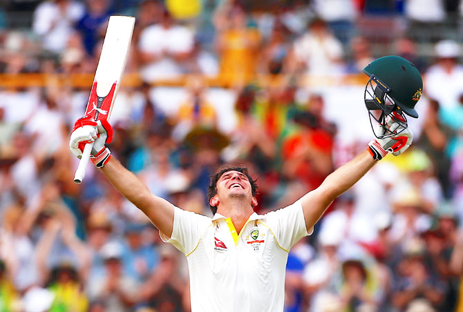 Mitchell Marsh can't contain his joy on reaching his century