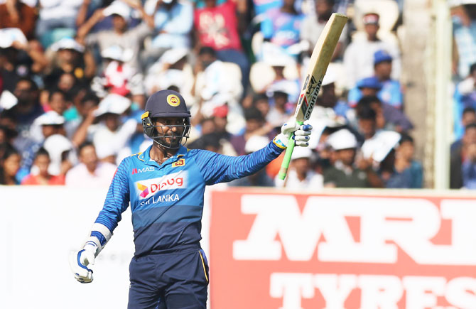 Upul Tharanga acknowledges the crowd after scoring his half-century