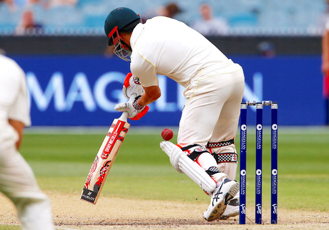 Australia's David Warner misses ball while batting on Day 4