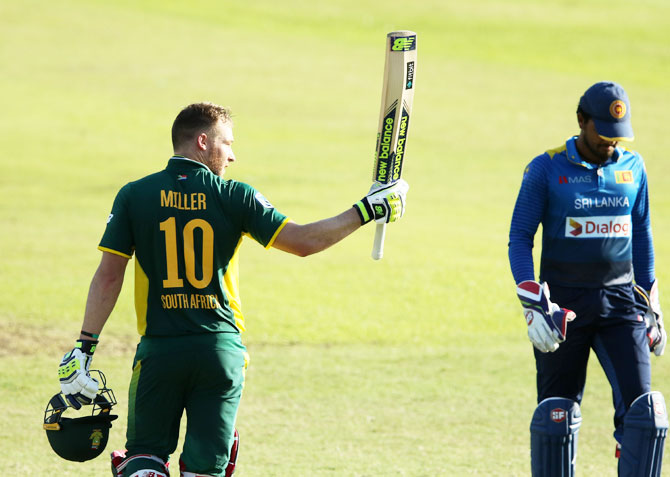 South Africa's David Miller celebrates on completing his century during the 2nd ODI against Sri Lanka at Sahara Stadium, Kingsmead, in Durban, on Wednesday