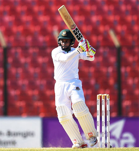 Bangladesh's Mushfiqur Rahim en route his 58 against India 'A' in Hyderabad on Sunday