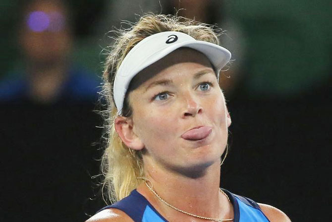 Coco Vandeweghe reacts during her third round match against Canada's Eugenie Bouchard at the Australian Open on Friday