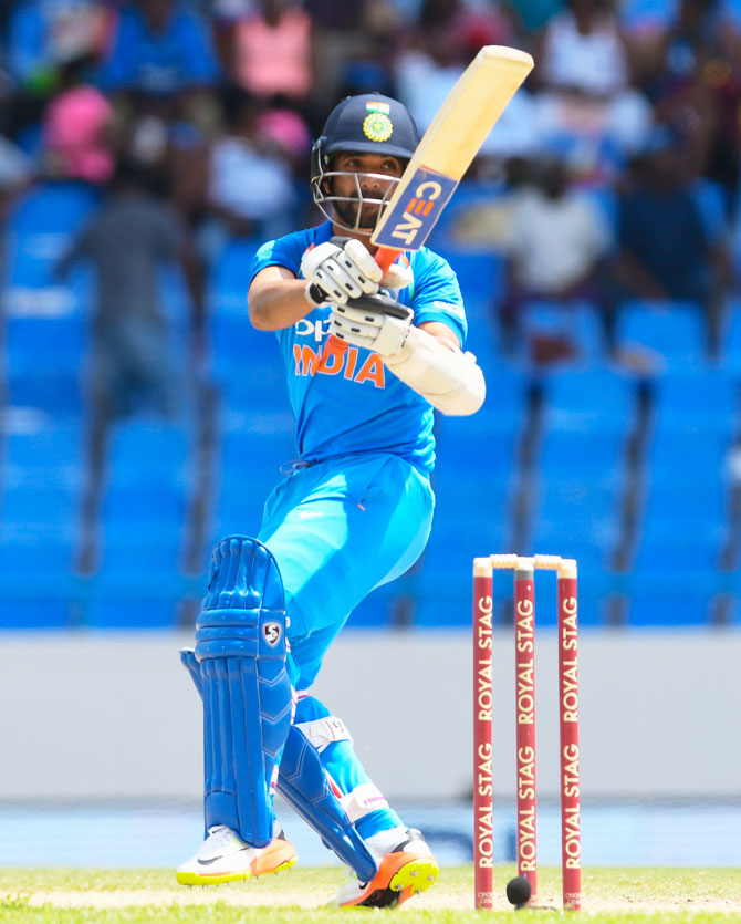 Opener Ajinkya Rahane reckons he played with patience and was satisfied with his consistent showing in the recently-concluded One-day series against the West Indies