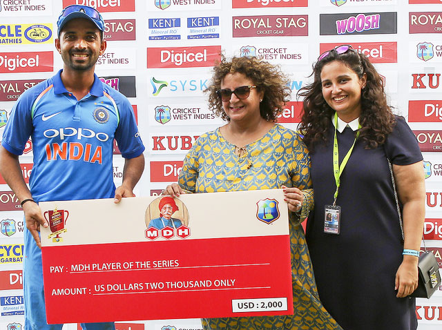 With 274 runs in the series against the West Indies, Ajinkya Rahane was named Man of the Series