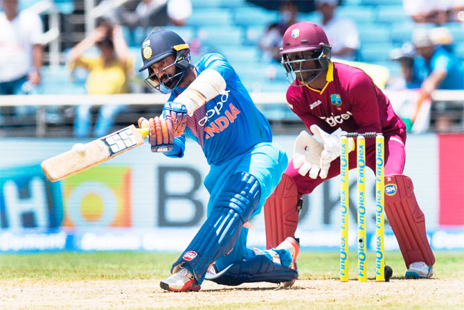 Dinesh Karthik bats during his 48-run innings