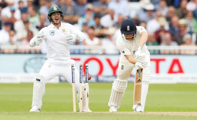 England's Jonny Bairstow is bowled out by South Africa's Keshav Maharaj on Day 2 of the 2nd Test between England and South Africa at Trent Bridge in Nottingham on Saturday