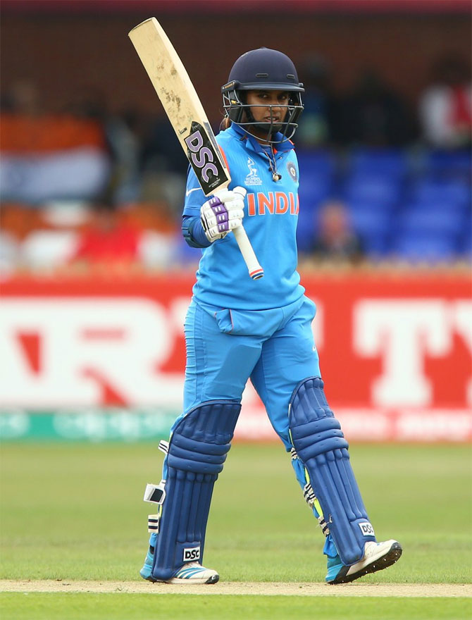 India captain Mithali Raj acknowledges the crowd on completing her century against New Zealand during their ICC Women's World Cup match in Derby on Saturday