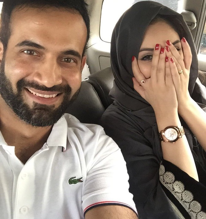 Irfan Pathan with his wife