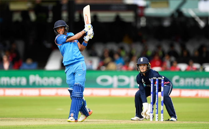 Harmanpreet Kaur in action during her innings of 51