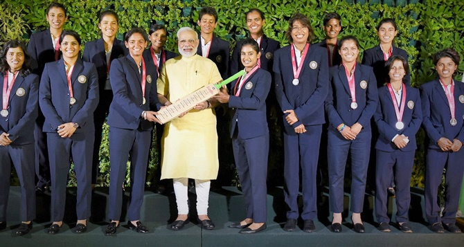 Image result for PM Modi with women sportsperson
