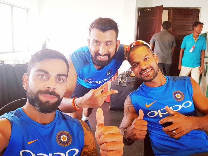Cheteshwar Pujara (centre) believes that lead by captain Virat Kohli (left), India are a more experienced side and ready to face tougher oppositions in South Africa, England and Australia next year
