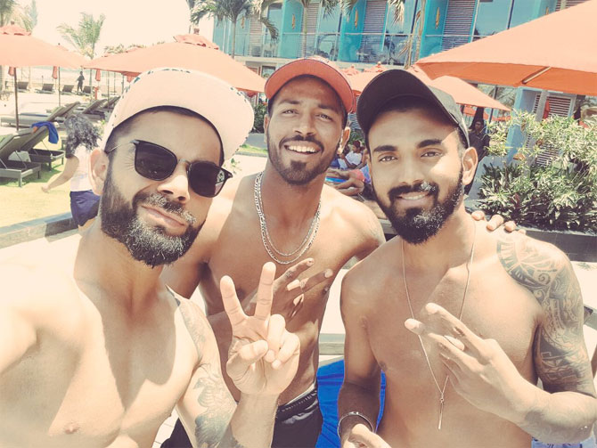 India captain Virat Kohli, Hardik Pandya and KL Rahul enjoy some leisure time on Sunday