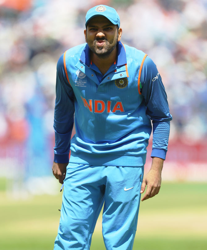 Rohit Sharma pulls a face while fielding