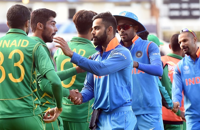 India Captain Virat Kohli greets a Pakistan player at the end of the Birmingham game, June 4, 2017. Photograph: ICC