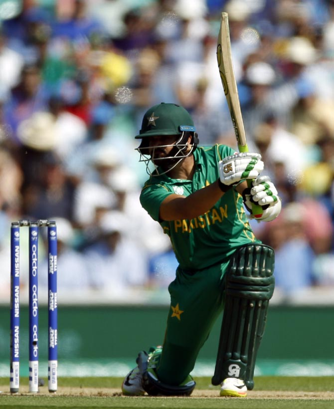 Pakistan opener Azhar Ali plays a drive during his innings against India during the Champiions Trophy final on Sunday
