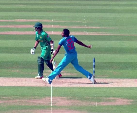 India's Jasprit Bumrah bowls a no-ball granting a life to Azhar Ali