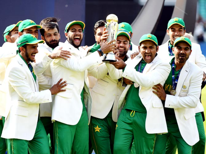 Pakistan's players celebrate after winning the ICC Champions Trophy, June 18, 2017. Photograph: Gareth Copley/Getty Images