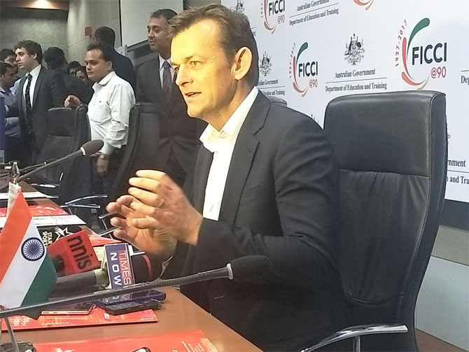 Former Australian captain Adam Gilchrist at a promotional event in New Delhi on Monday