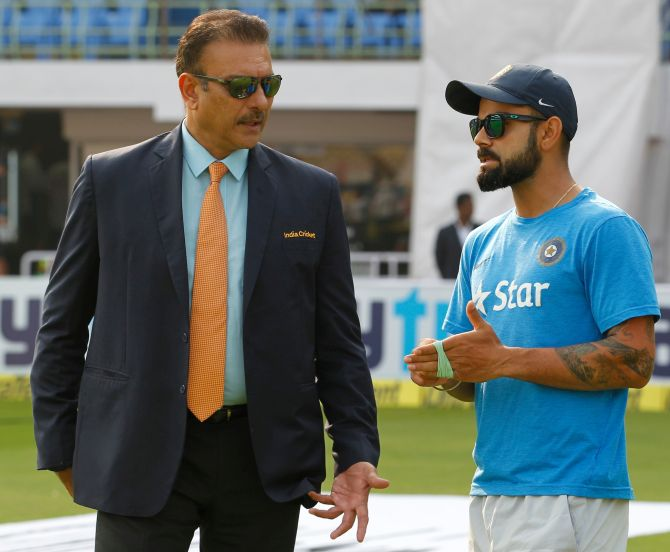 Rediff Sports - Cricket, Indian hockey, Tennis, Football, Chess, Golf - Shastri just can't stop praising leader Kohli