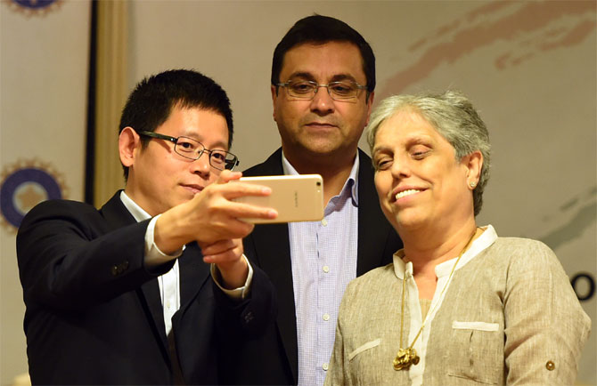 Diana Eduljee, former India women's team captain and member of the Committee of Administrators at the event where OPPO mobiles was named as Team India's sponsor