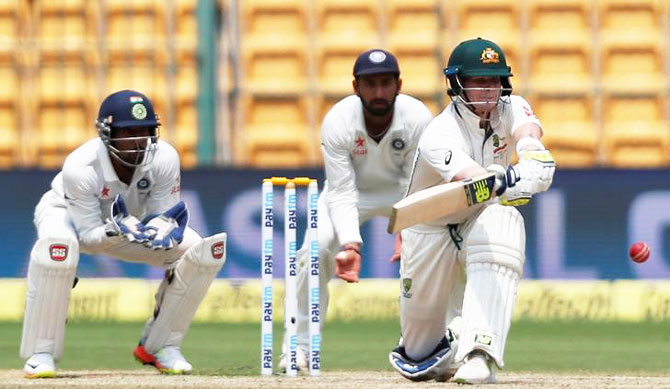 Australia captain Steve Smith plays a shot
