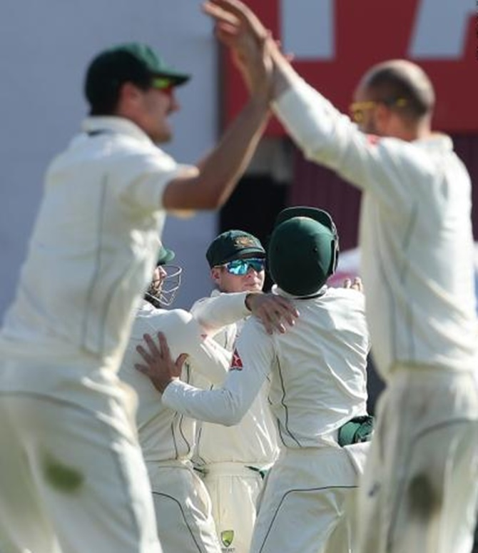 Rediff Cricket - Indian cricket - Test evenly poised as Lyon leads Australia's fightback