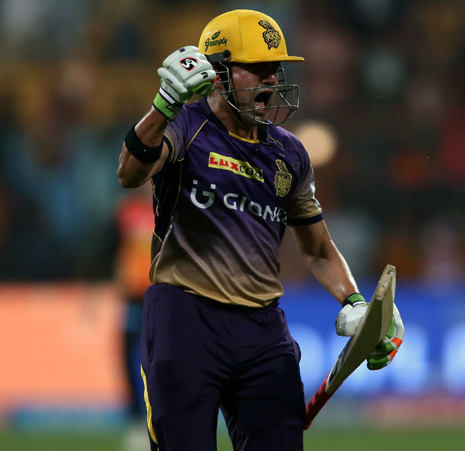 IMAGE: Gautam Gambhir celebrates after winning the Eliminator match against  Sunrisers Hyderabad.