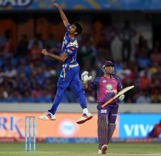 Mumbai Indians fast bowler Jasprit Bumrah celebrates Pune Supergiant star Mahendra Singh Dhoni's wicket in the IPL final, May 22, 2017. Photograph: BCCI