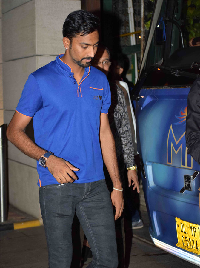 Mumbai Indians' all-rounder Krunal Pandya arrives at the party venue