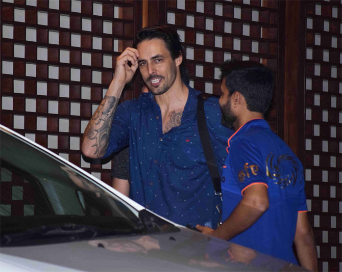 Mumbai Indians' Australian pace bowler Mitchell Johnson is all dressed for the occassion