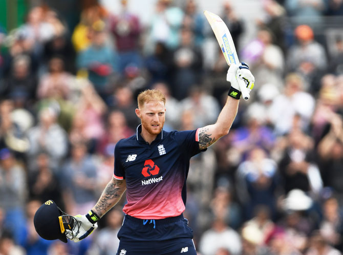 England batsman Ben Stokes celebrates reaching his century during the 2nd One-Day International against South Africa at The Ageas Bowl in Southampton, England, on Saturday