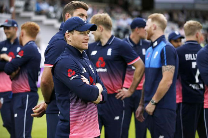 England's Eoin Morgan before the presentation after winning the series but losing the 3rd ODI against South Africa on Monday